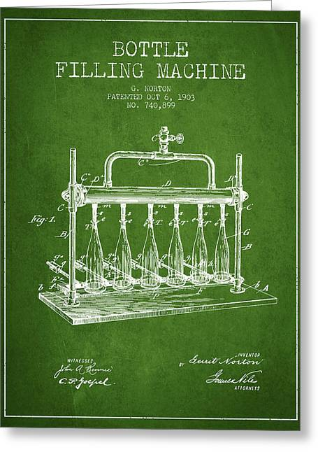Bottle. Bottling Drawings Greeting Cards - 1903 Bottle Filling Machine patent - green Greeting Card by Aged Pixel