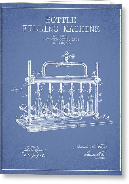 Bottle. Bottling Drawings Greeting Cards - 1903 Bottle Filling Machine patent - light blue Greeting Card by Aged Pixel