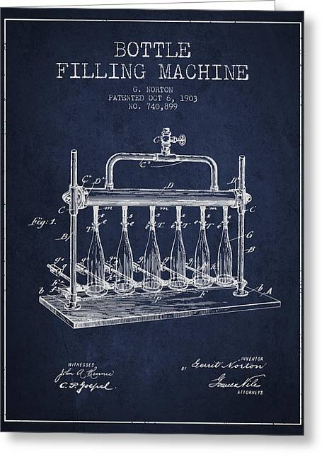 Bottle. Bottling Drawings Greeting Cards - 1903 Bottle Filling Machine patent - navy blue Greeting Card by Aged Pixel