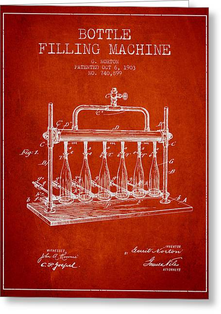 Bottle. Bottling Drawings Greeting Cards - 1903 Bottle Filling Machine patent - red Greeting Card by Aged Pixel