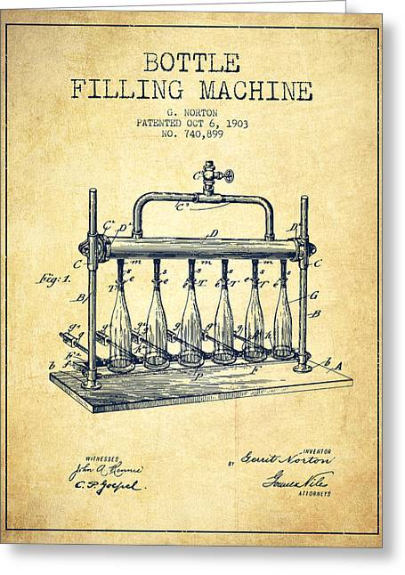 Bottle. Bottling Drawings Greeting Cards - 1903 Bottle Filling Machine patent - vintage Greeting Card by Aged Pixel
