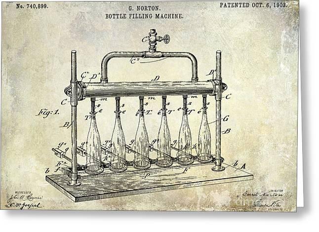 1903 Bottle Filling Patent Greeting Card by Jon Neidert