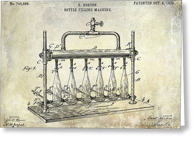 Merlot Greeting Cards - 1903 Bottle Filling Patent Greeting Card by Jon Neidert