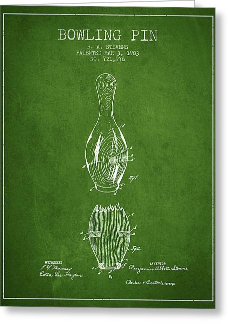Boule Greeting Cards - 1903 Bowling Pin Patent - Green Greeting Card by Aged Pixel