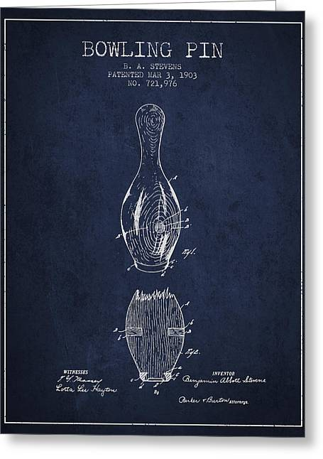 Boule Greeting Cards - 1903 Bowling Pin Patent - Navy Blue Greeting Card by Aged Pixel