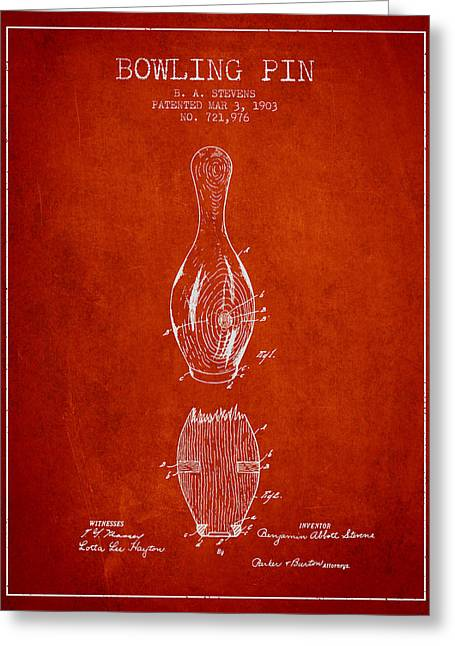 Boule Greeting Cards - 1903 Bowling Pin Patent - Red Greeting Card by Aged Pixel