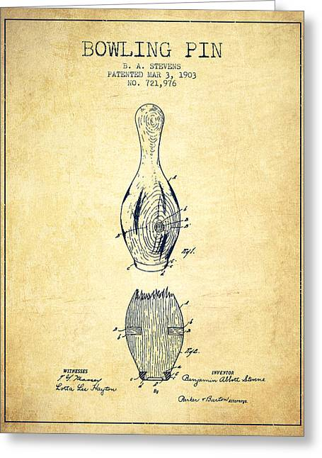 Boule Greeting Cards - 1903 Bowling Pin Patent - Vintage Greeting Card by Aged Pixel