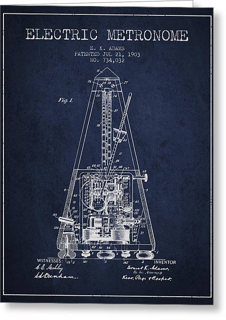 Technical Drawings Greeting Cards - 1903 Electric Metronome Patent - Navy Blue Greeting Card by Aged Pixel
