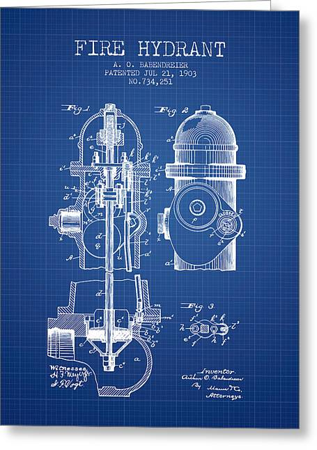 Hydrant Greeting Cards - 1903 Fire Hydrant Patent - Blueprint Greeting Card by Aged Pixel