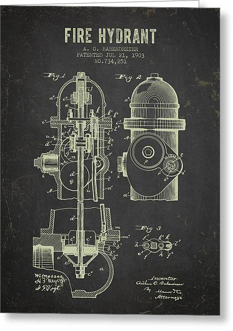 Hydrant Greeting Cards - 1903 Fire Hydrant Patent - Dark Grunge Greeting Card by Aged Pixel