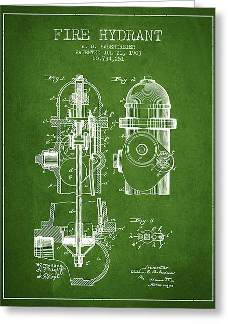 Hydrant Greeting Cards - 1903 Fire Hydrant Patent - green Greeting Card by Aged Pixel