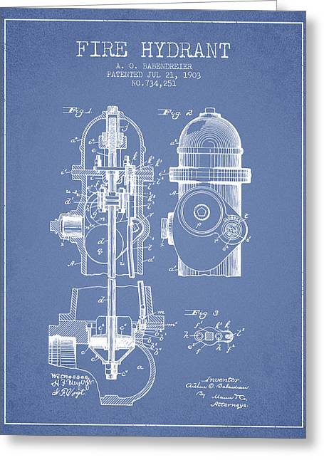 Hydrant Greeting Cards - 1903 Fire Hydrant Patent - light blue Greeting Card by Aged Pixel