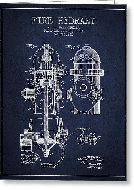 Fire Hydrants Greeting Cards - 1903 Fire Hydrant Patent - navy blue Greeting Card by Aged Pixel
