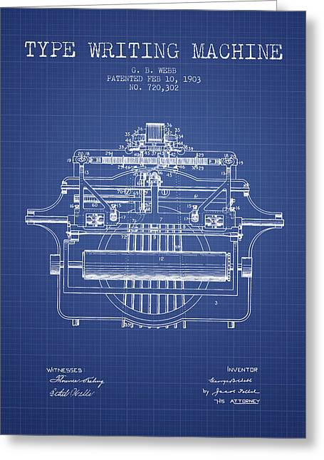 Typewriter Greeting Cards - 1903 Type writing machine patent - Blueprint Greeting Card by Aged Pixel