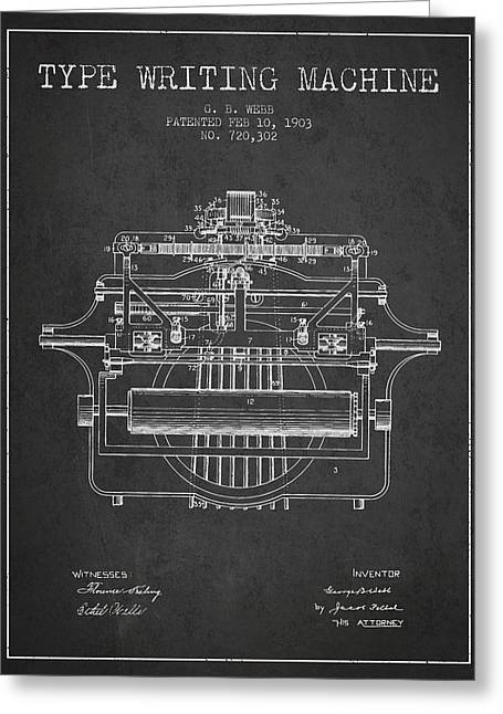 Typewriter Greeting Cards - 1903 Type writing machine patent - Charcoal Greeting Card by Aged Pixel