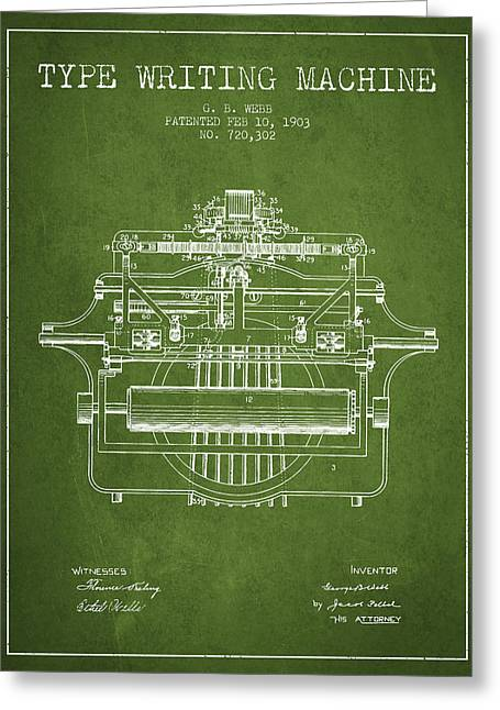 Typing Greeting Cards - 1903 Type writing machine patent - Green Greeting Card by Aged Pixel