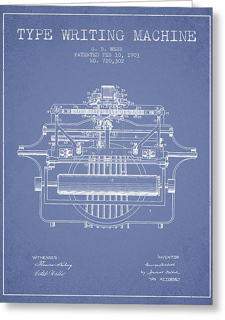 Typewriter Greeting Cards - 1903 Type writing machine patent - Light Blue Greeting Card by Aged Pixel