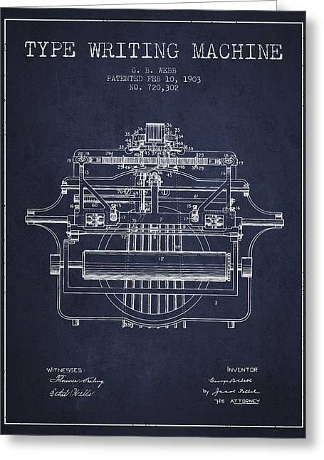 Typewriter Greeting Cards - 1903 Type writing machine patent - Navy Blue Greeting Card by Aged Pixel