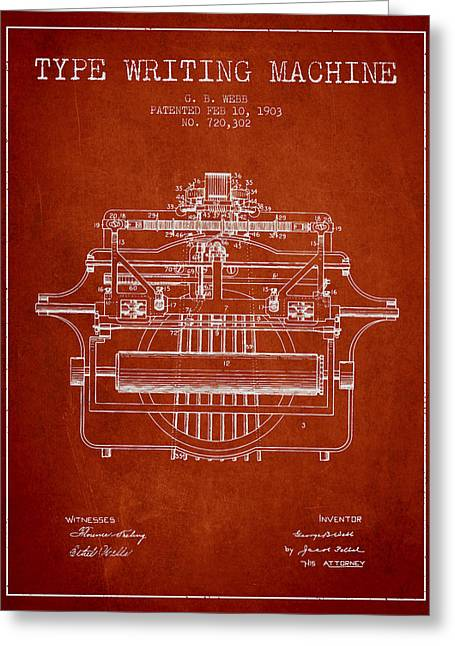 Typing Greeting Cards - 1903 Type writing machine patent - Red Greeting Card by Aged Pixel