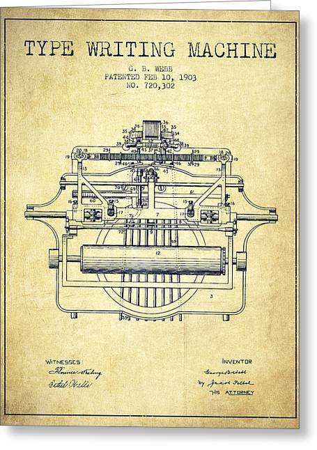 Typing Greeting Cards - 1903 Type writing machine patent - Vintage Greeting Card by Aged Pixel