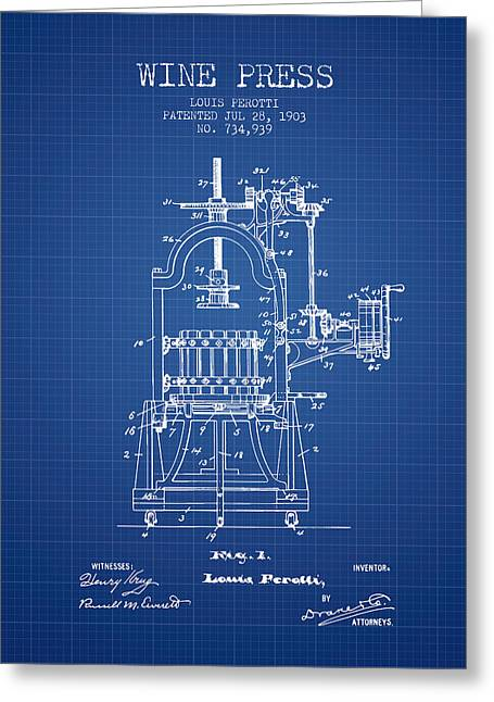 Wineries Drawings Greeting Cards - 1903 Wine Press Patent - blueprint 02 Greeting Card by Aged Pixel