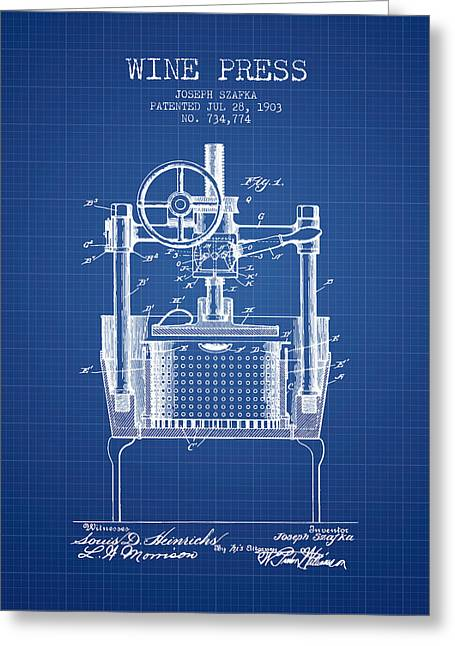 Red Wine Bottle Greeting Cards - 1903 Wine Press Patent - blueprint Greeting Card by Aged Pixel