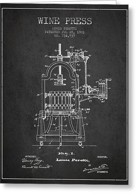 Wineries Drawings Greeting Cards - 1903 Wine Press Patent - charcoal 02 Greeting Card by Aged Pixel