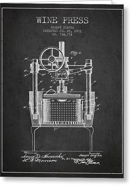 Red Wine Bottle Greeting Cards - 1903 Wine Press Patent - Charcoal Greeting Card by Aged Pixel