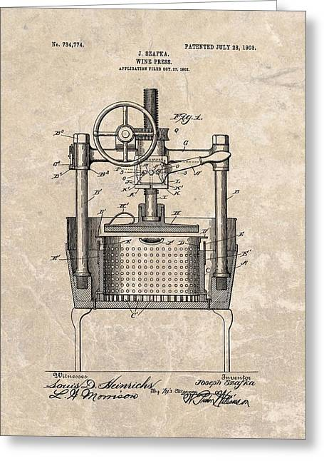 Fermentation Greeting Cards - 1903 Wine Press Patent Greeting Card by Dan Sproul