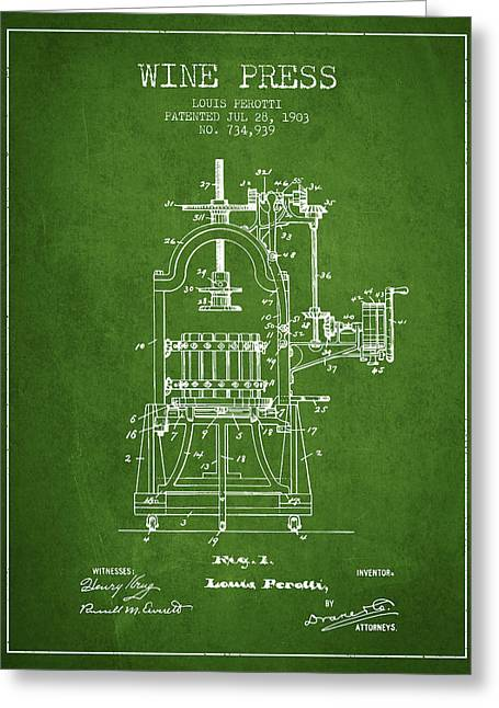 Red Wine Bottle Greeting Cards - 1903 Wine Press Patent - green 02 Greeting Card by Aged Pixel
