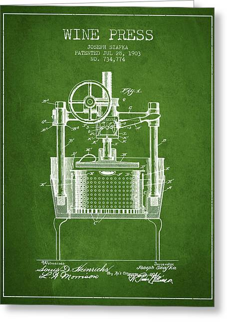 Red Wine Bottle Greeting Cards - 1903 Wine Press Patent - green Greeting Card by Aged Pixel