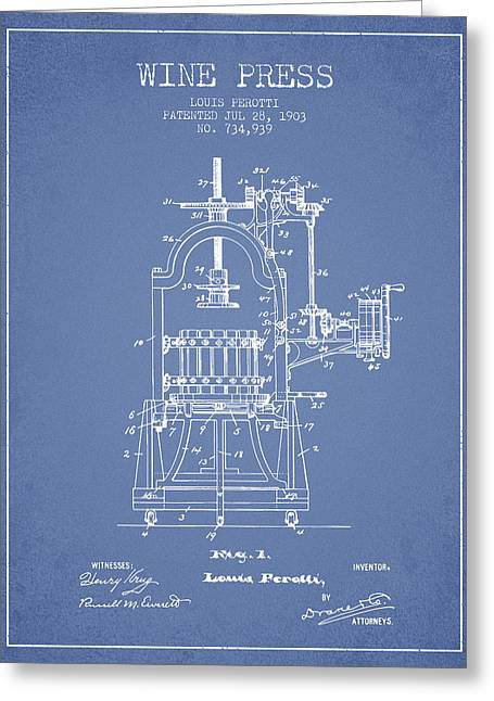 Red Wine Greeting Cards - 1903 Wine Press Patent - light blue 02 Greeting Card by Aged Pixel