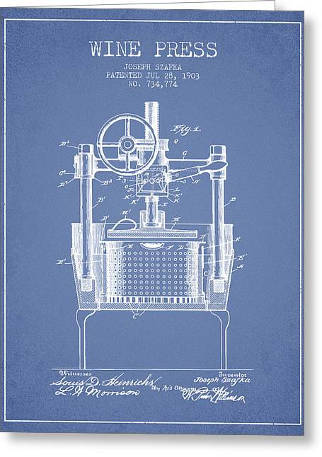 Red Wine Bottle Greeting Cards - 1903 Wine Press Patent - light blue Greeting Card by Aged Pixel