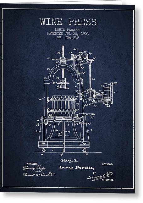 Red Wine Bottle Greeting Cards - 1903 Wine Press Patent - navy blue 02 Greeting Card by Aged Pixel