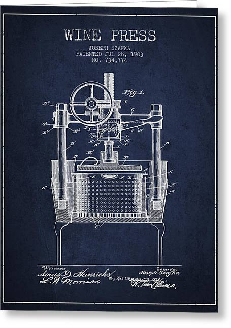 Red Wine Bottle Greeting Cards - 1903 Wine Press Patent - Navy Blue Greeting Card by Aged Pixel