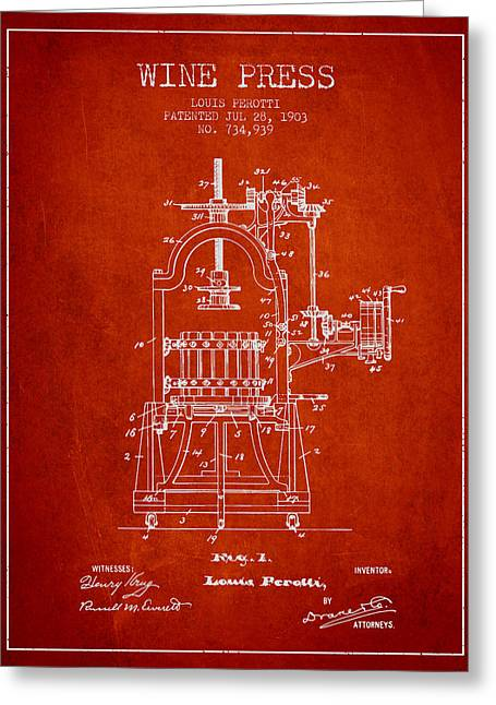 Red Wine Bottle Greeting Cards - 1903 Wine Press Patent - red 02 Greeting Card by Aged Pixel