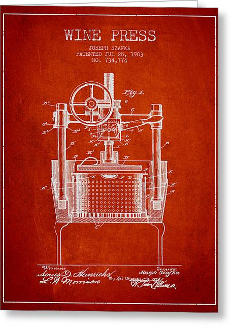 Red Wine Bottle Greeting Cards - 1903 Wine Press Patent - Red Greeting Card by Aged Pixel