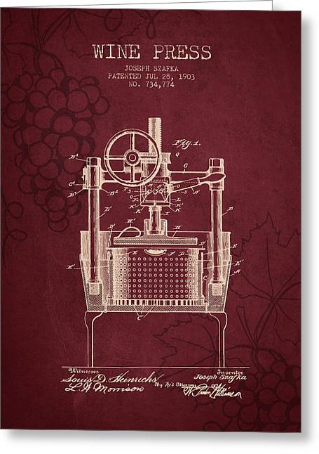 Wine Grapes Greeting Cards - 1903 Wine Press Patent - Red Wine Greeting Card by Aged Pixel