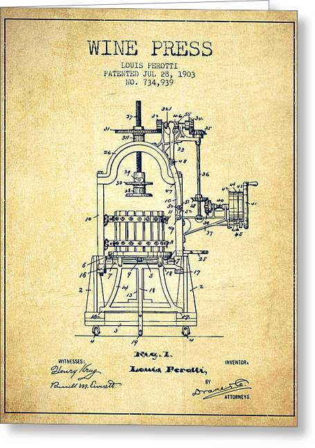 Vineyards Drawings Greeting Cards - 1903 Wine Press Patent - vintage 02 Greeting Card by Aged Pixel
