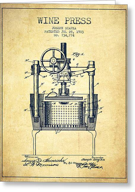 Wineries Drawings Greeting Cards - 1903 Wine Press Patent - vintage Greeting Card by Aged Pixel
