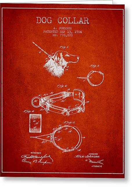Dog Drawings Greeting Cards - 1904 Dog Collar Patent - Red Greeting Card by Aged Pixel
