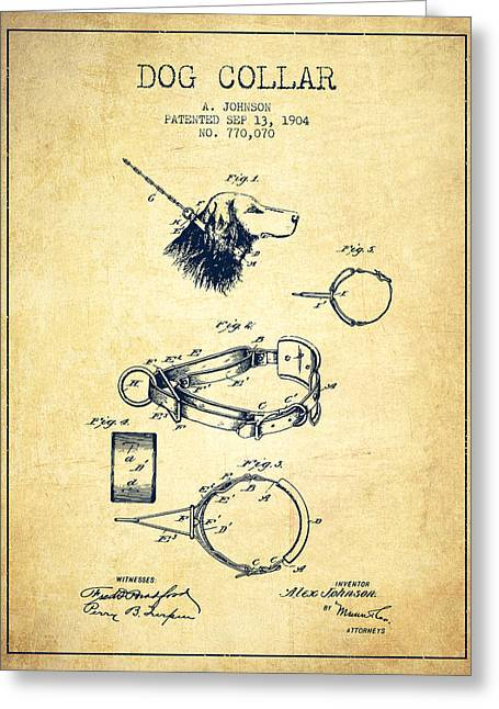Dog Drawings Greeting Cards - 1904 Dog Collar Patent - Vintage Greeting Card by Aged Pixel