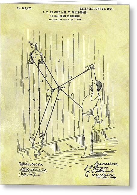 1904 Exercising Machine Patent Greeting Card by Dan Sproul