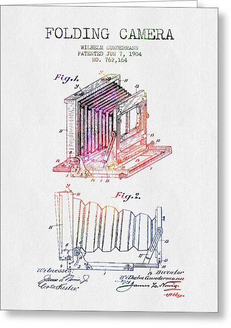 Camera Greeting Cards - 1904 Folding Camera Patent - Color Greeting Card by Aged Pixel