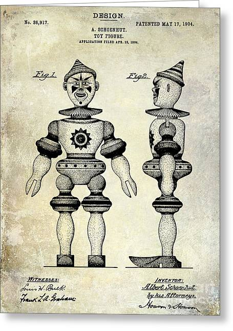 Toys Greeting Cards - 1904 Toy Patent Drawing Greeting Card by Jon Neidert