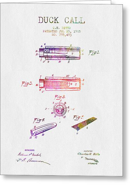 Hunting Drawings Greeting Cards - 1905 Duck Call Instrument Patent - Color Greeting Card by Aged Pixel