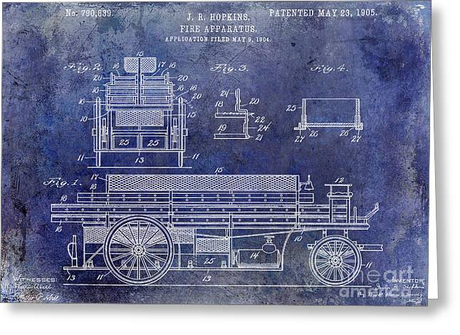 Fire Fighter Greeting Cards - 1905 Fire Apparatus Blue Greeting Card by Jon Neidert