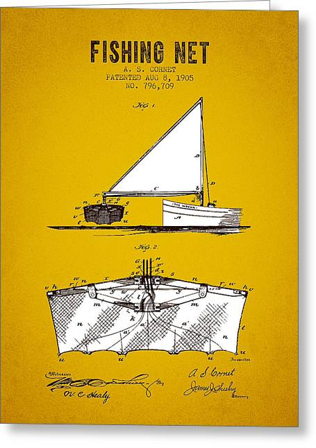 Fishing Rods Greeting Cards - 1905 Fishing Net Patent - Yellow Brown Greeting Card by Aged Pixel