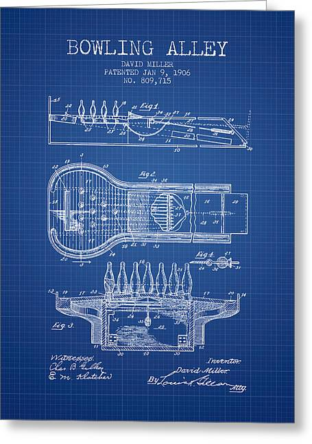 Boule Greeting Cards - 1906 Bowling Alley Patent - Blueprint Greeting Card by Aged Pixel