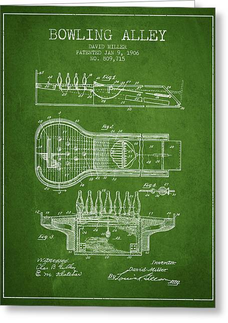 Boule Greeting Cards - 1906 Bowling Alley Patent - Green Greeting Card by Aged Pixel